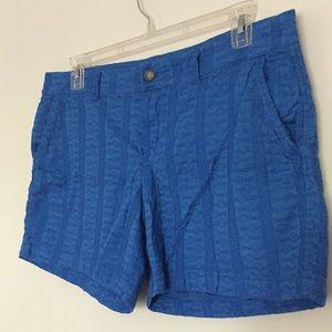 Embroidered shorts boho Baltic blue